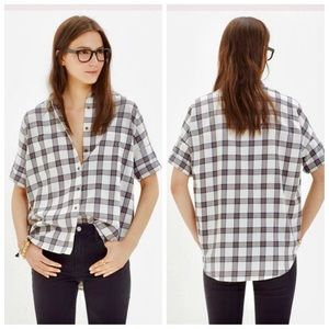 Madewell Flannel Courier Shirt Blueridge Plaid S